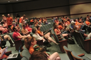 The scene from inside the auditorium