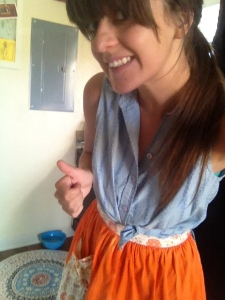 Selfie cooking shot -- look at me go!